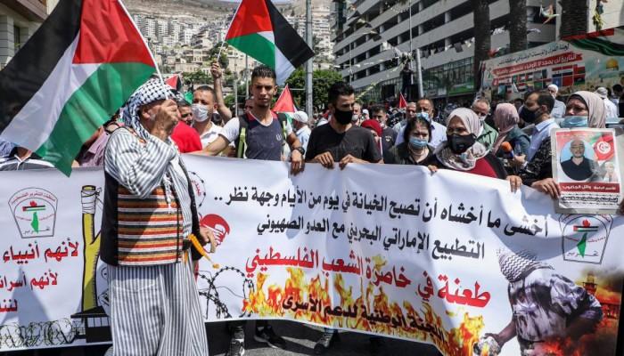 تظاهرات تعم الضفة الغربية رفضاً للتطبيع الإماراتي والبحريني مع الاحتلال