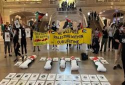 مظاهرة بنيويورك للمطالبة بالإفراج عن جثامين الشهداء المحتجزة