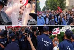 الأمن يقمع تظاهرة بالآلاف ضد سعيّد بتونس
